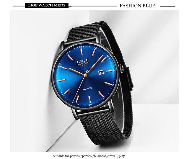 Lige мужские часы лучший бренд класса люкс спортивные ультратонкие
