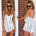 Mulheres Listrado branco Playsuit Shorts Estilo Sexy Decote Em V Macacão macacão feminino Verão vestido Romper bodysuit roupas monos
