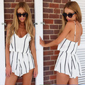 Women white Striped Playsuit Shorts Sexy V Neck Jumpsuit macacao feminino Summer Style vestido Romper bodysuit roupas monos