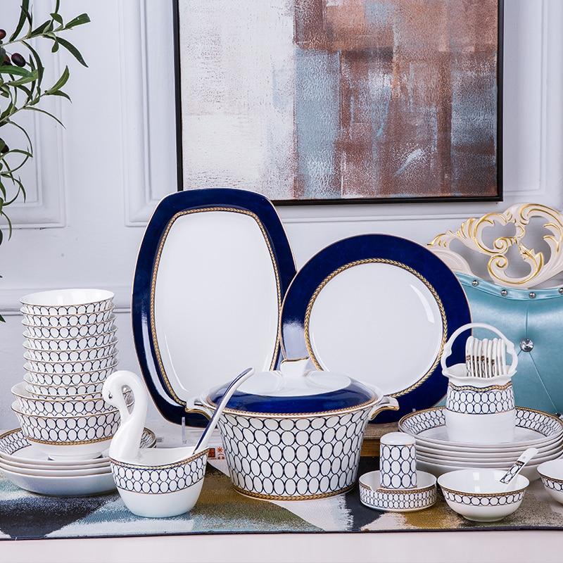 Dinnerware Set Porcelain 50pcs Bone China Utensils Plates Combination Ceramic Dishes Jingdezhen Chinese Plate Blue Code serveware