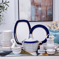 Dinnerware Set Porcelain 50pcs Bone China Utensils Plates Combination Ceramic Dishes Jingdezhen Chinese Plate Blue Code