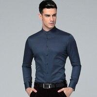 2018 New Mandarin Collar 100% Cotton Long Sleeves Men Dress Shirts Men's Business Shirts Casual Men Shirts Masculina Camisas