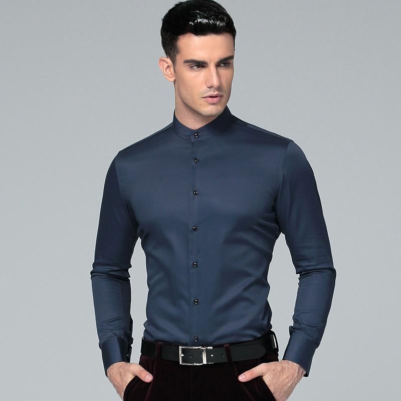 2019 جديد اليوسفي طوق 100 ٪ قطن طويل الأكمام قمصان رجالية قمصان رجال الأعمال عارضة قمصان رجالية الغمد Camisas