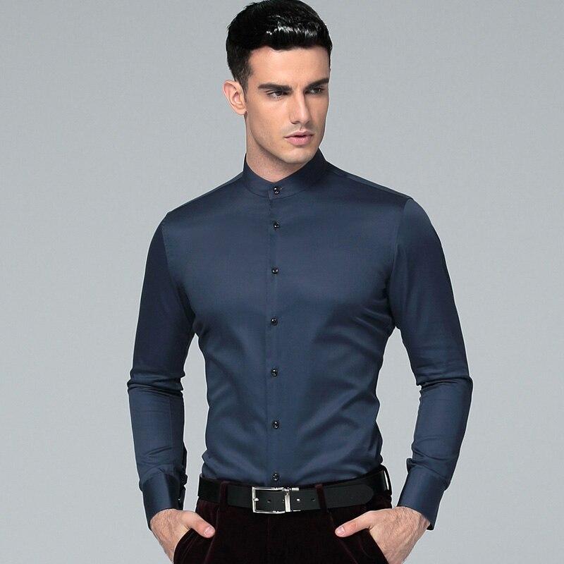 2019 új mandarin gallér 100% pamut hosszú ujjú férfi ruha ing Férfi üzleti ing alkalmi férfi ingek Masculina Camisas