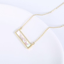 2019 Trendy popular rectangular shell plated pendant necklace women environmentally copper choker ladies  jewelry