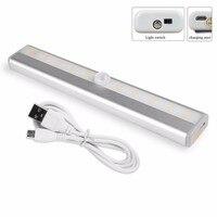 2Pcs 10 LED IR Infrared Motion Detector Wireless Sensor Lighting Closet Night USB Battery Recharging Lamp