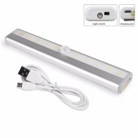 2Pcs 10 LED IR Infrared Motion Detector Wireless Sensor Lighting Closet Night USB Battery Recharging Lamp