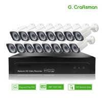 16ch 2MP POE Kit H.265 System CCTV Sicherheit NVR 1080P Outdoor Wasserdicht IP Kamera 48V POE Schalter Überwachung DIY G. handwerker
