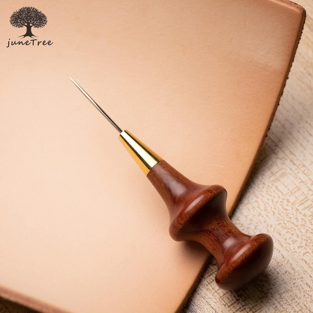 Junetree Stitching Awl With Conical Shape Blade Cutter Cutting Leather Cut With Good Wooden Handle Professional Leather Craft