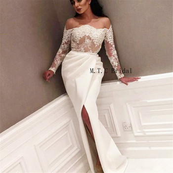 Elegant White Mermaid Long Sleeve Arabic Evening Dress Off The Shoulder Front Split Lace See Through Sexy Prom Gown Custom Made
