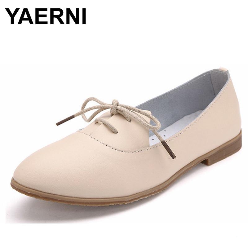 YAERNI New Casual Ballet Shoes Woman Soft Genuine   Leather   Women's Loafers Lace-Up Woman Flats Shoe Flexible Footwear