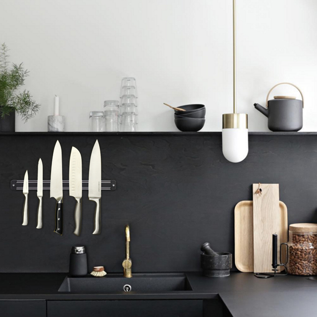 Magnetic Knife Holder 13 inch Wall Mount Black ABS Placstic Block