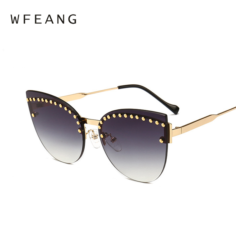 WFEANG Cat eyes Transparent Sunglasses Women Oversized Clear Lens Lady Rimless Sun Glasses Frame New Oculos De Sol