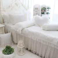 Роскошный комплект постельного белья белый кружевной свадебный 4 шт. принцесса кашне пододеяльник кровать юбки Подушка домашний текстиль д