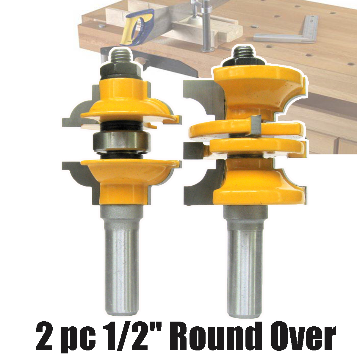 цена на 2Pc Lock Miter Router Bit 1/2 Inch Shank Woodworking Tenon Milling Cutter Tool Drilling Milling For Wood Carbide Alloy