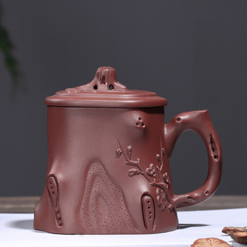 """PINNY 320ML Yixing Purple Clay """"Plum Pile"""" Tea Mugs Ceramic Traditional Chinese Teacups Hand Made Tea Ceremony Accessories"""
