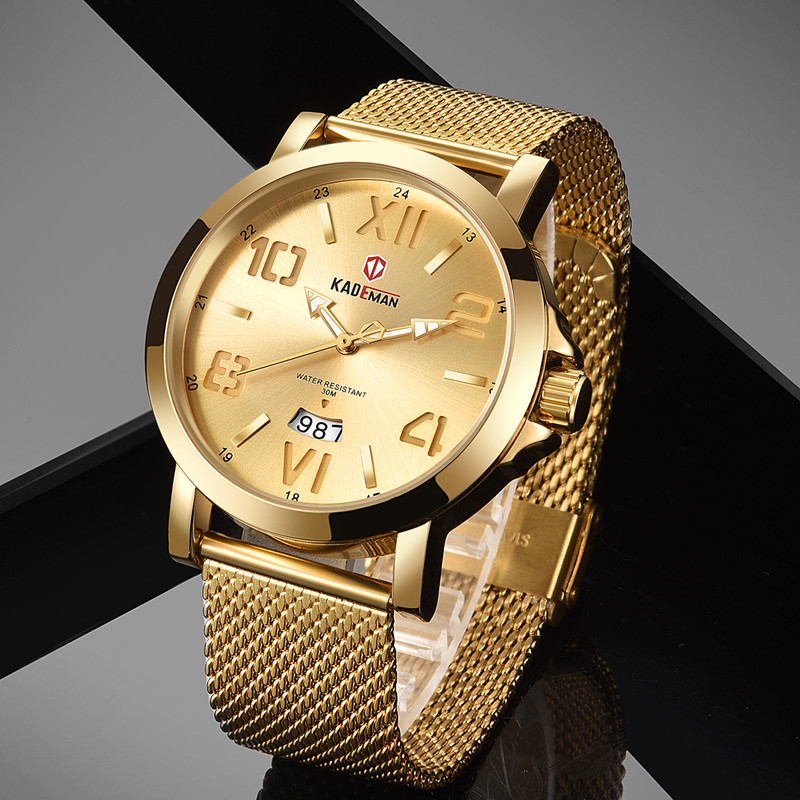 Minimalism Mens Watches Luxury Classic Quartz Watch TOP Brand KADEMAN Lovers Watches Business All Steel 3 ATM Wristwatch Relogio