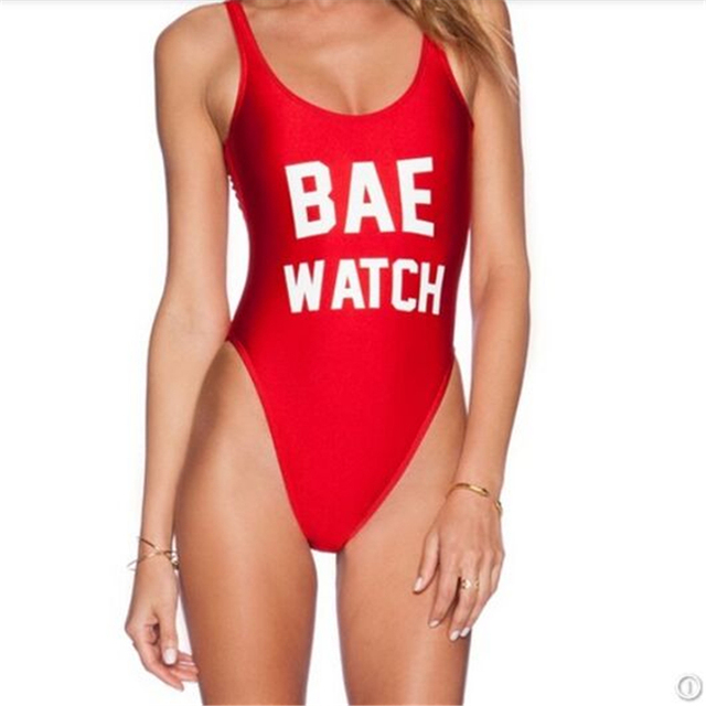 Fashion Summer Jumpsuit BAE WATCH Beach Letter Overalls For Women Red Black High Cut Low Back Tumblr Bodysuit Salopette