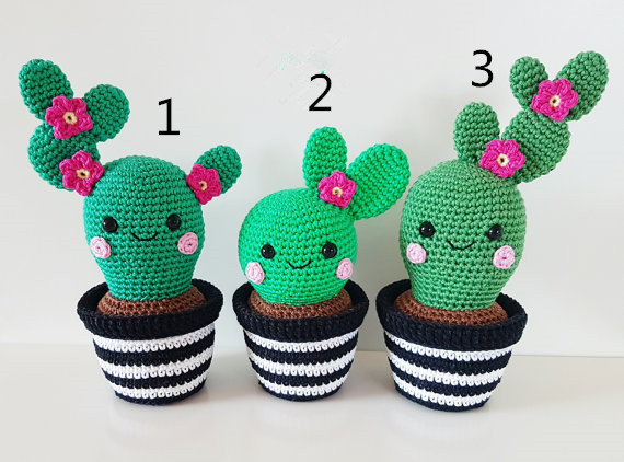Cactus Friends  Amigurumi, Crochet Toy Doll Rattle