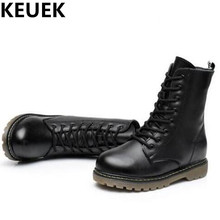 NEW Autumn/Winter Genuine Leather Shoes Children  Martin Boots Mid-Calf High Leather Boots Boys Girls Snow Boots Kids Plush 044
