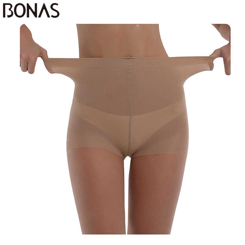 BONAS 20D Sexy Breathable Tights Women High waist Sun Protection Pantyhose T crotch Nylon Tights Stretchy Slim Stockings Female
