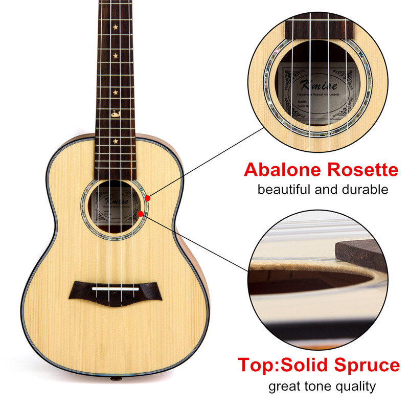 Kmise Concert ukulélé épicéa massif acajou guitare classique tête 23 pouces Ukelele Uke 4 cordes Hawaii guitare - 3
