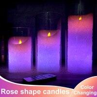 1 unid forma rose Velas de cambio de color de Control Remoto con Temporizador Remoto LED vela luz de La Lámpara de La Boda de San Valentín Decoración Del Partido