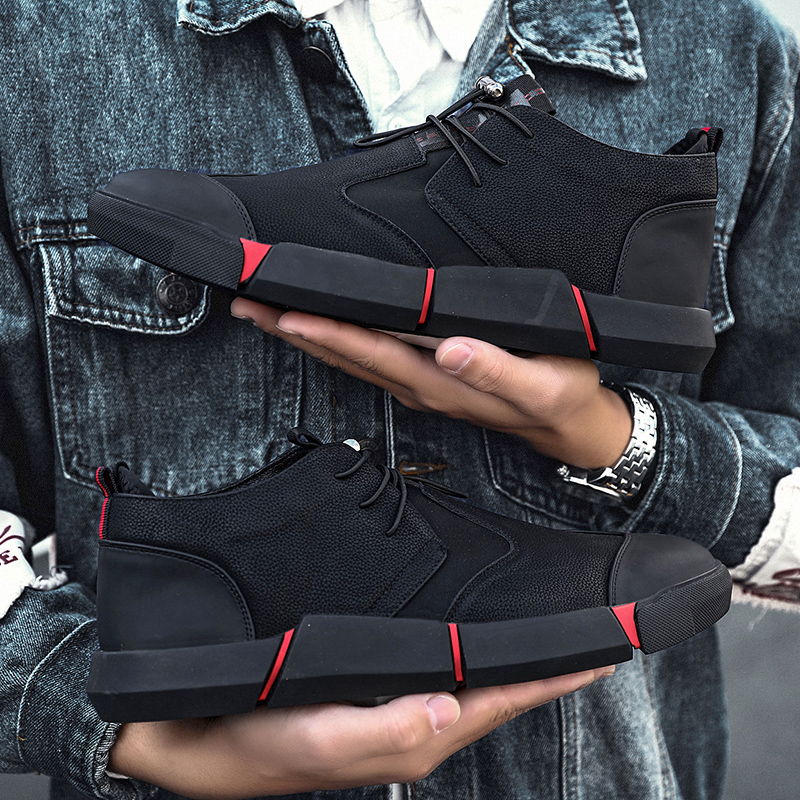 2019 Brand High quality all Black Mens leather casual shoes Fashion Breathable Sneakers fashion flats