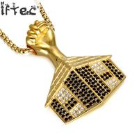 24 Hip Hop Bling Iced Out Rhinestone House Pendants Necklaces Gold Color Stainless Steel Fist Necklace