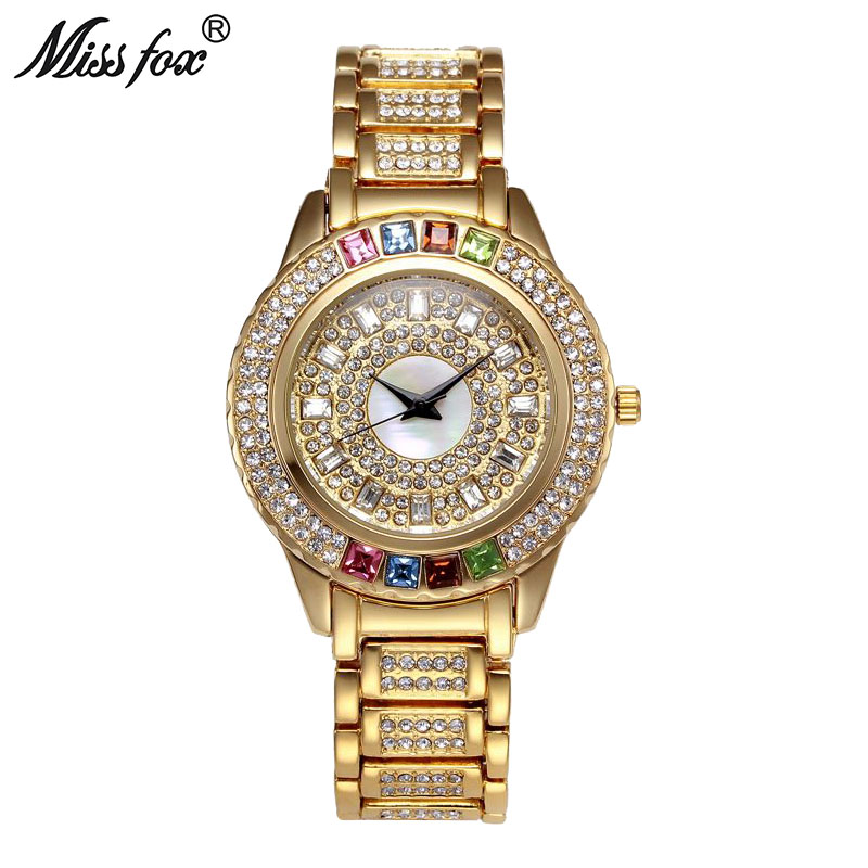 Miss Fox New Hot Austria Crystal Timepiece Women Full Diamond Best Womens Watch Brand Fashion Gold Watch Business Quartz Watches fox womens swimwear