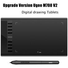 2018 Обновление версии Ugee M708 V2 цифровой рисунок Планшеты графический планшет для живописи 10*6 дюймов с Батарея- бесплатная Pen мощный