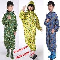 Free Shipping Children Raincoat Puddlesuit Waterproof Breathable Kids Rainsuit Coverall Sliker Outdoor Windproof Splashsuit