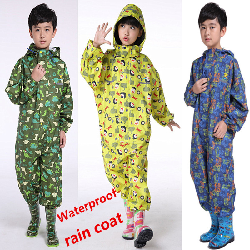 цена boys raincoat puddlesuit waterproof breathable kids rainsuit coverall sliker outdoor Splashsuit girls poncho students overall