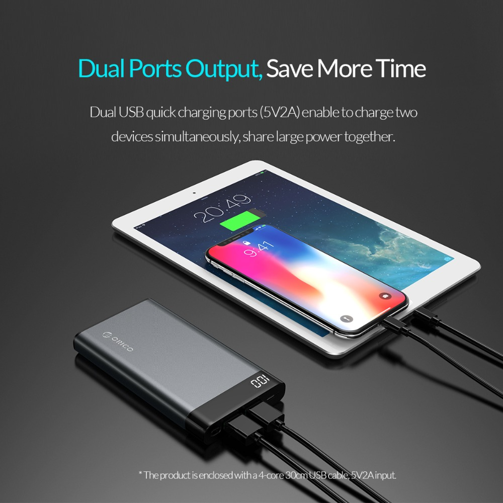 ORICO 10000mAh Power Bank Dual USB 5V2A with Display Screen Poverbank Portable External Battery Pack For Xiaomi Mobile Phone 5