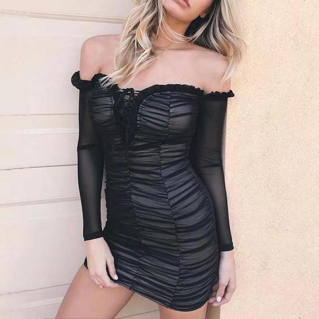 European New Style Bra Gauze Package Hip Sexy Dress Quality Lace-Up Ruffles  Decorated Slim 865b235b2fa5c
