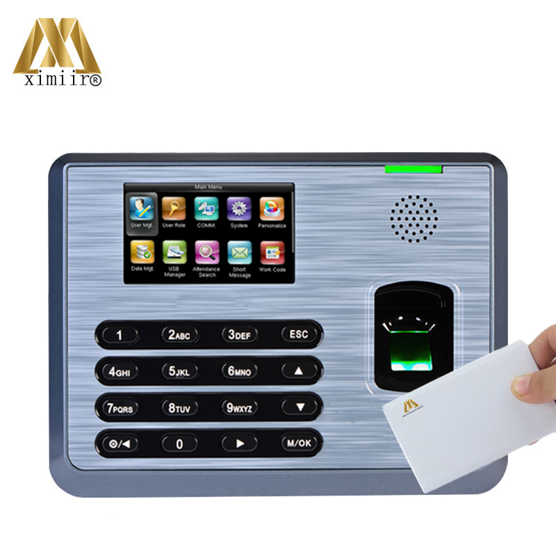 Free Shipping TX628 Biometric Fingerprint Time Attendance With 13.56MHZ IC Card Employee Attendance Fingerprint Time Clock