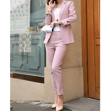 high quality Women Work Pink Pant Suits 2 Piece Set Women Si