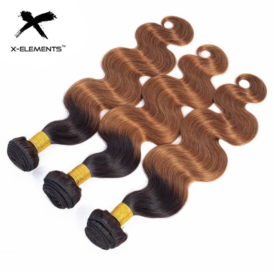 X-Elements Brazilian Ombre Body Wave Hair Bundles T1B 30 Burgundy 39J Purple Colored Human Hair Weave Non-Remy Hair Extensions (14)