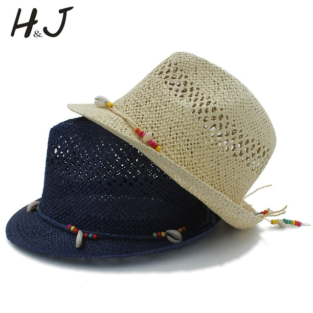 517ced87 Handwork Summer Women Men Raffia Straw Sun Hat For Gentleman Shell Boater  Fedora Hats Elegant Lady Tassel Beach Hat Panama Cap