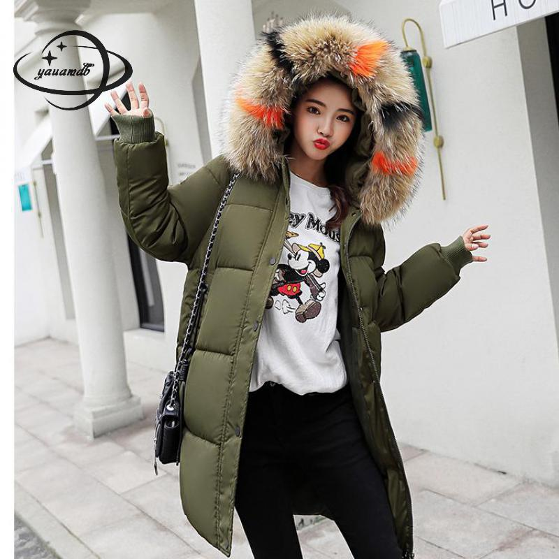 100% Quality Yauamdb Women Parkas Jacket Winter Cotton S-3xl Female Fur Hooded Coats Clothing Solid Zipper Pocket Ladies Long Outerwear Ly95