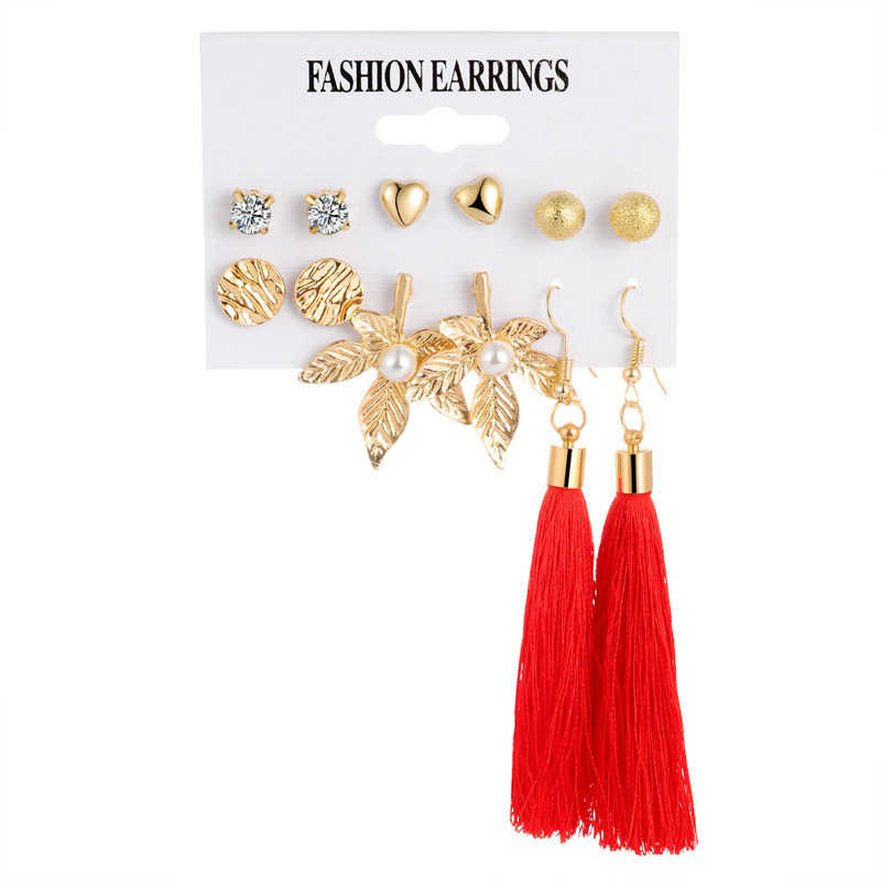 Bohemia Long Tassel Geometric Dangle Earrings Set Gold Leaf Crystal Drop Earrings Women Jewelry Fashion Brincos