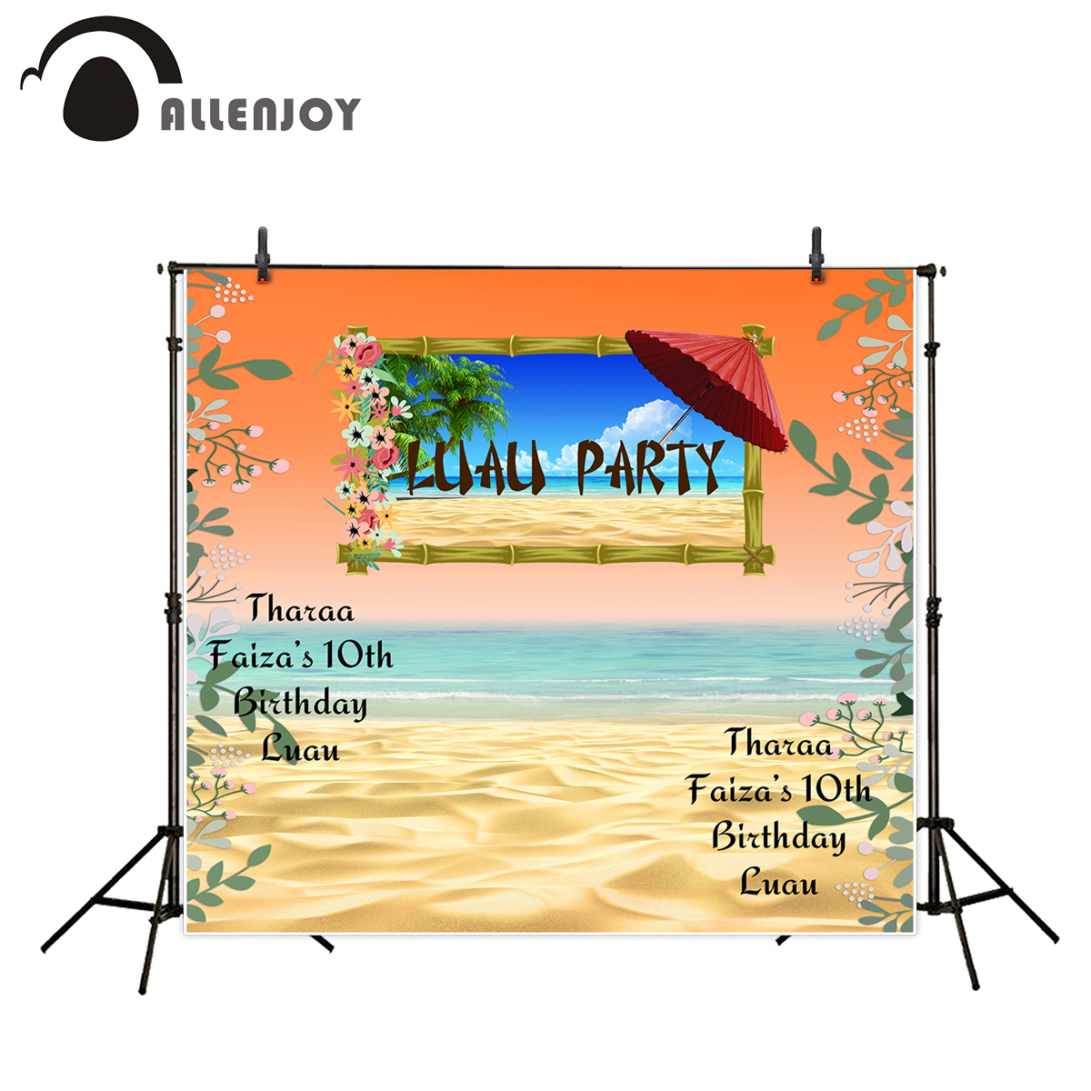 Allenjoy Photography Background sea Beach sunshine backgdrop Sun umbrella tropical background Customized Birthday party backdrop allenjoy backdrop background wonderland