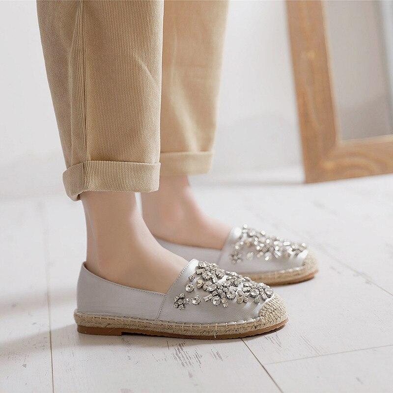 Cosmagic Sur Chaussures Femmes Slip D'été 2018 Argent Strass Appartements Espadrilles Corde Mocassins Femme Casual Chanvre Nouvelles CqHCS
