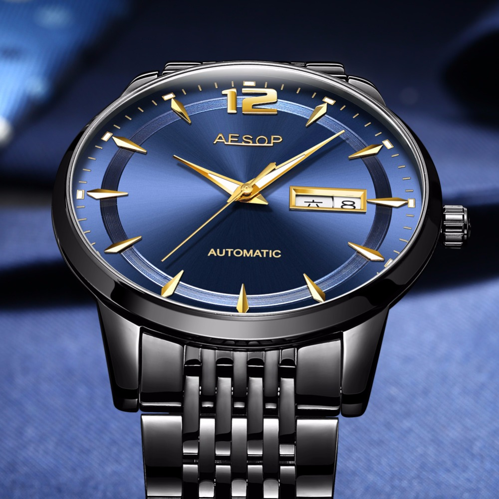 AESOP Men watches top brand Luxury Automatic Mechanical watch Stainless steel relogio masculino Waterproof erkek kol saati Clock