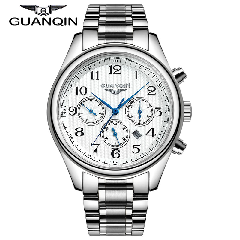 GUANQIN Fashion Casual Men watch Quartz Wristwatches With Calendar Full Stainless Steel Water Resistant And Free Shipping все цены
