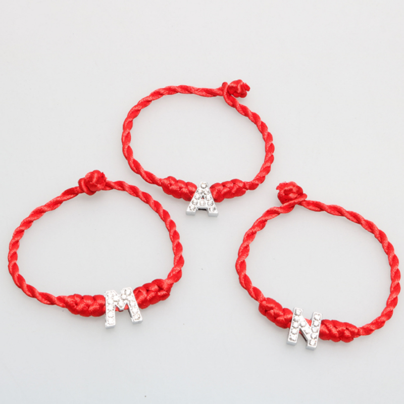 LISTE LUKE Lucky Bracelet New A Z Hand Made Crystal Red Fashion 1PC Girlfriends Gift Women Men Simple 26 Letter Couple in Charm Bracelets from Jewelry Accessories