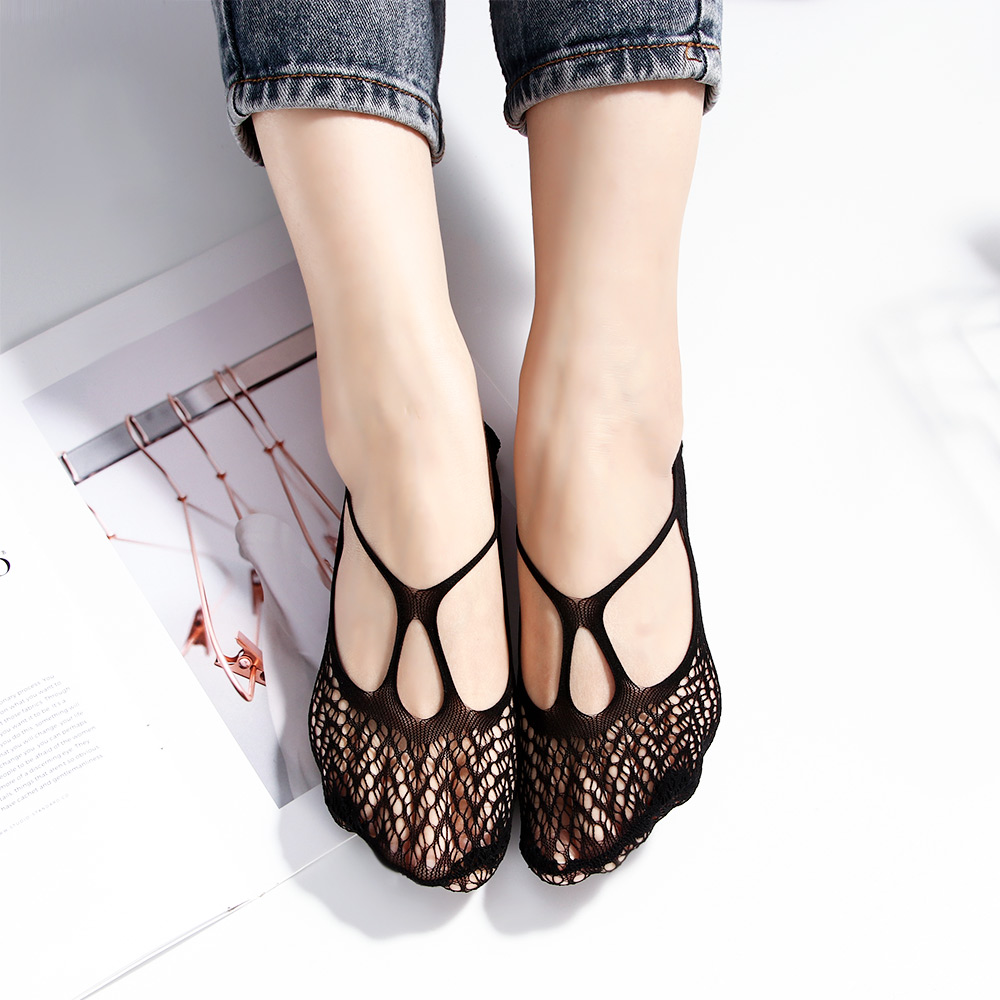 1Pair Women Charm Summer Lace Net Half Feet Short Socks Bandage Cross Anti-skid Invisible Liner No Show Low Cut Boat Socks