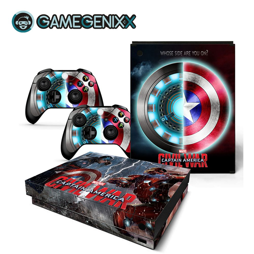 GAMEGENIXX Skin Sticker Vinyl Decal Waterproof Cover for Xbox One X Console and 2 Controllers - The Avengers(China)