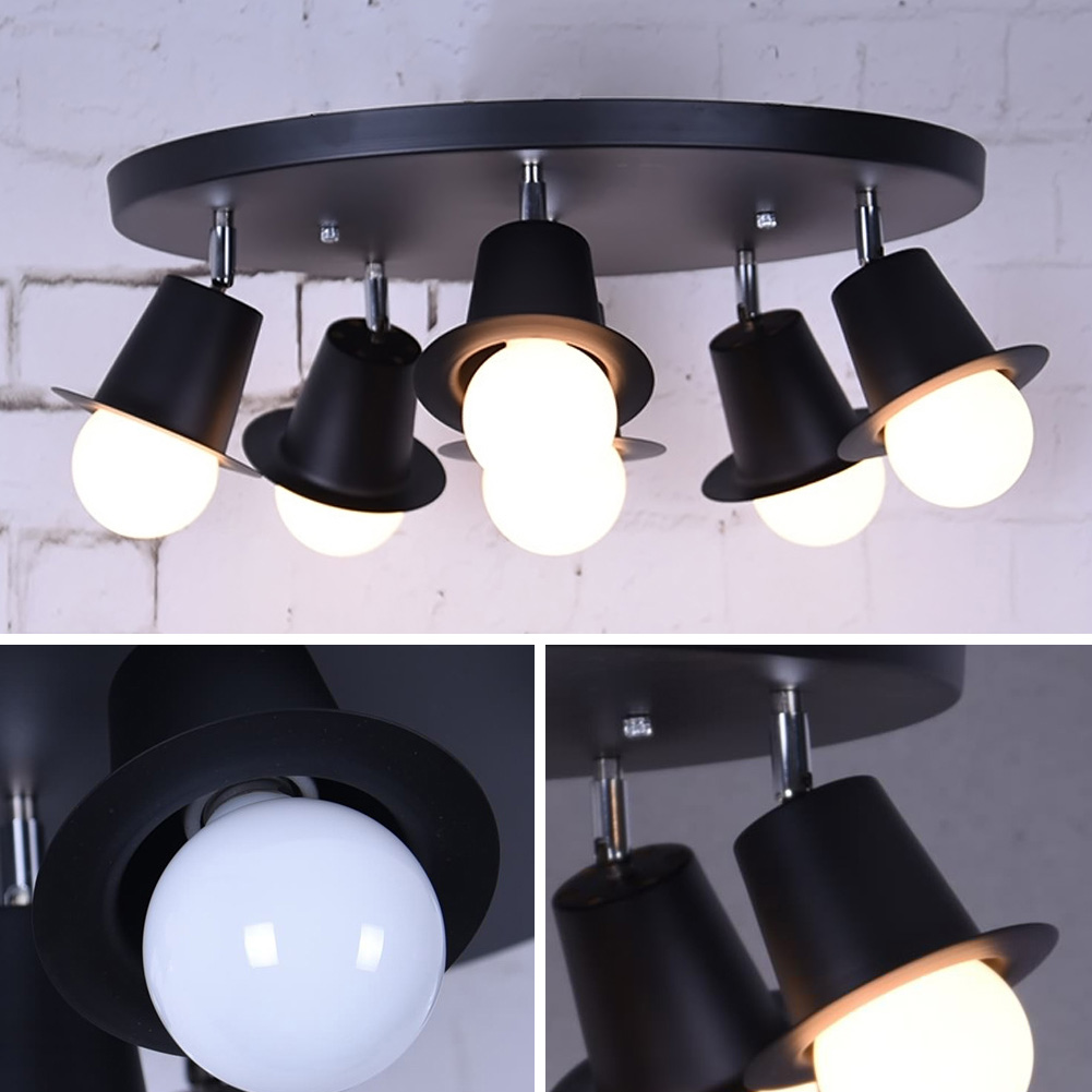 ФОТО Modern LED Ceiling Lamp 4 Head 6 Head Ceiling Dome Lamp Creative Personality Retro Nostalgia Ceiling Light For Home Bedroom Lamp