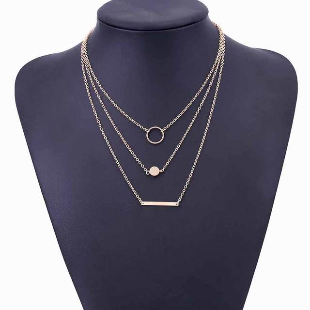 FAMSHIN 2017 New Fashion Wild Aperture Metal Rods Necklace Gold Silver Layered Necklace For Women Charm Gift 1